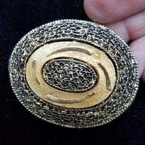 Vintage Brutalist-style Unusual Goldtone Brooch
